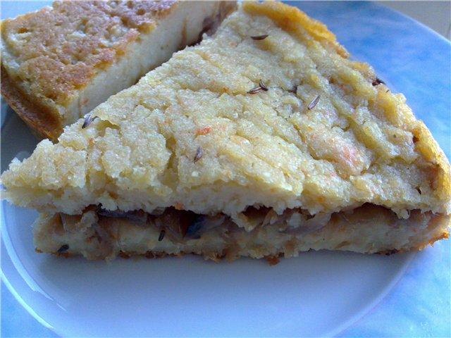 Картофельный пирог с баклажанами