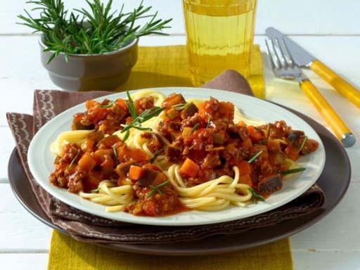 Спагетти с баклажанным соусом