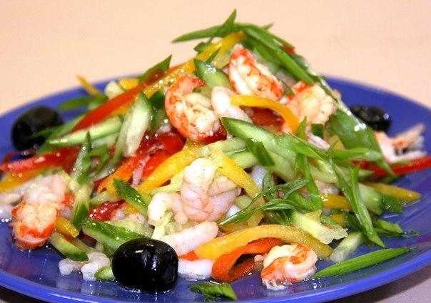 Простой салат из креветок рецепт очень вкусный с